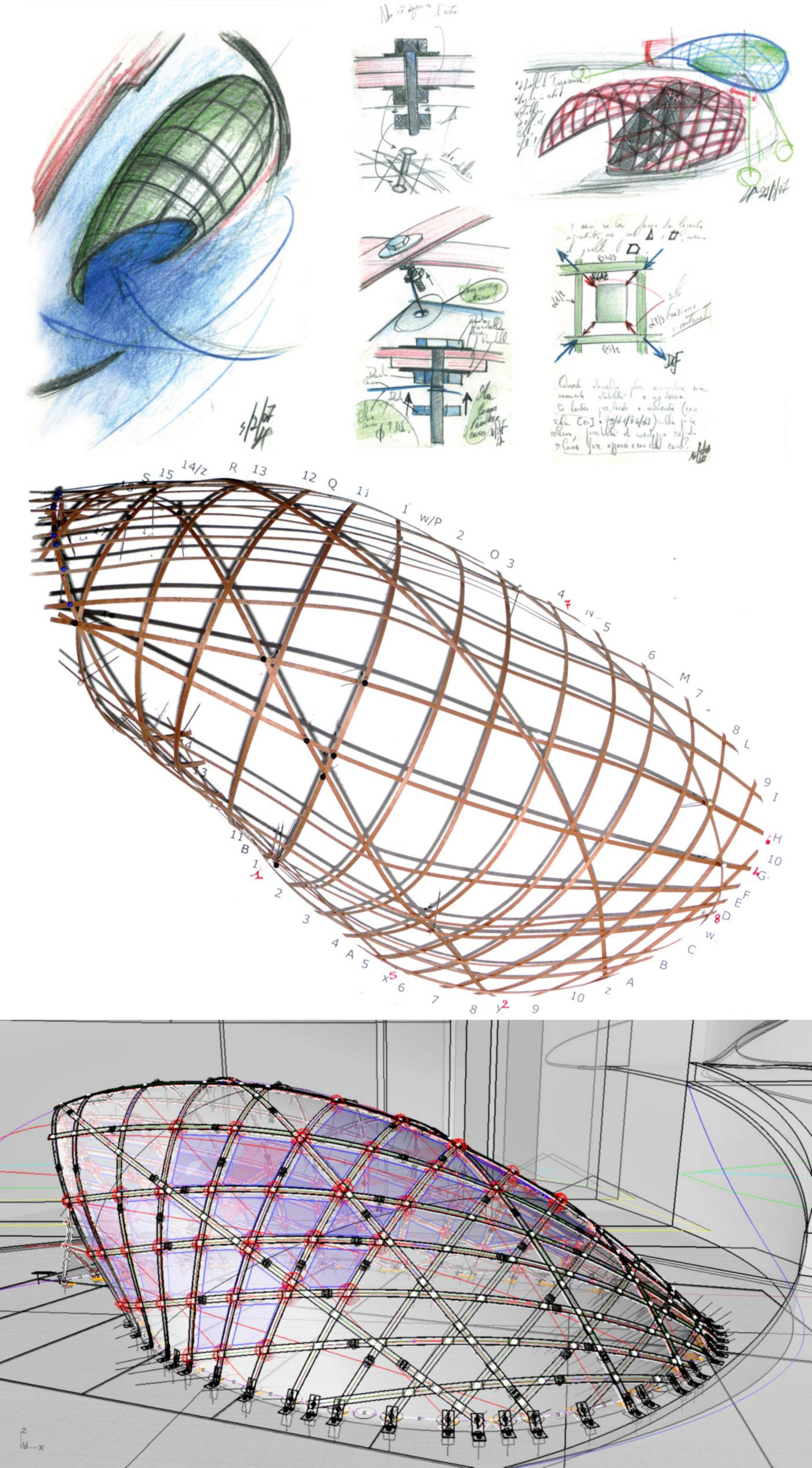 Un padiglione temporaneo sperimentale, con una struttura a gridhsell ibrido che realizza una forma sinuosa, suadente. Schizzi concettuali, modello fisico, modello virtuale: tre strumenti diversi e coordinati per sviluppare il progetto| Bottega di Architettura