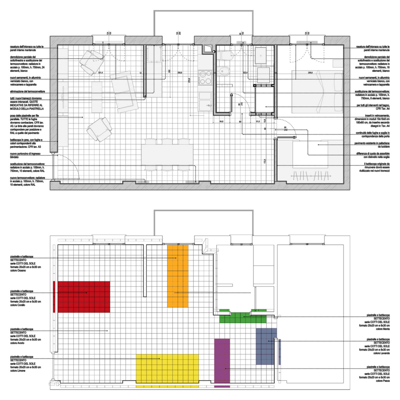 Una ristrutturazione che trasforma il colore in spazio. Disegni esecutivi | Bottega di Architettura