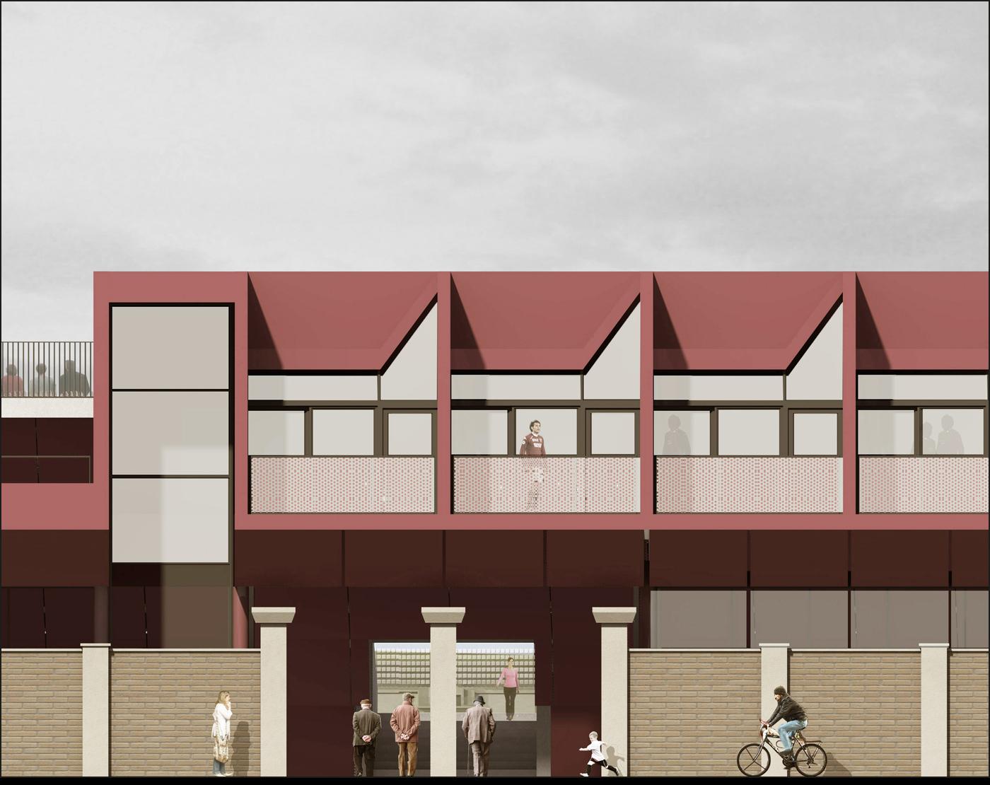Nuovo Stadio Filadelfia a Torino. Progetto vincitore del concorso di idee. Prospetto principale | Bottega di Architettura