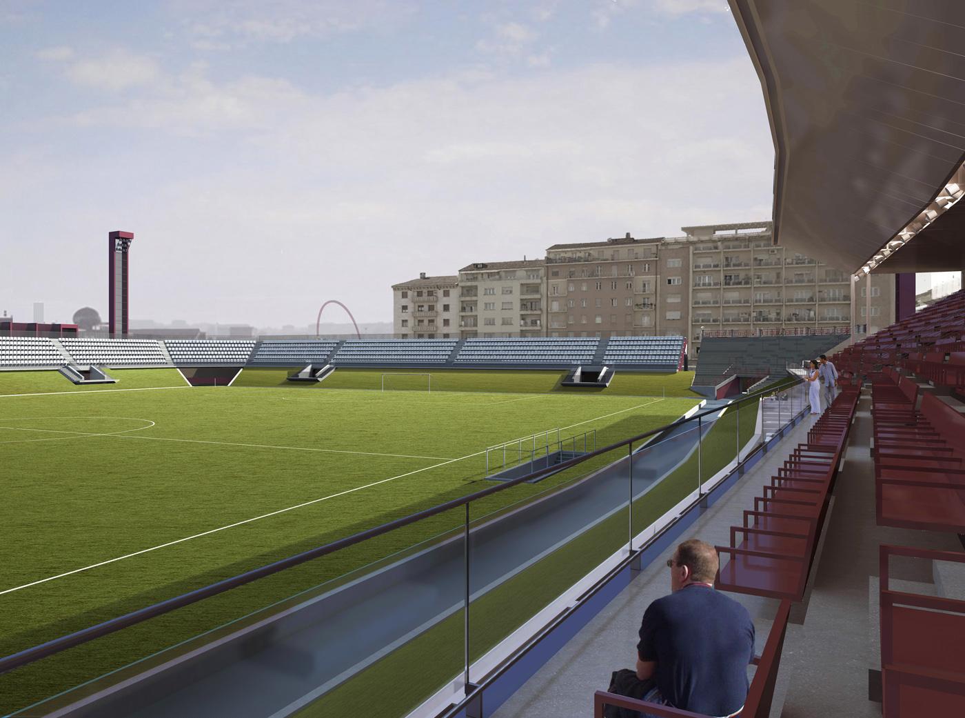 Nuovo Stadio Filadelfia a Torino. Progetto vincitore del concorso di idee. La tribuna coperta verso il campo | Bottega di Architettura