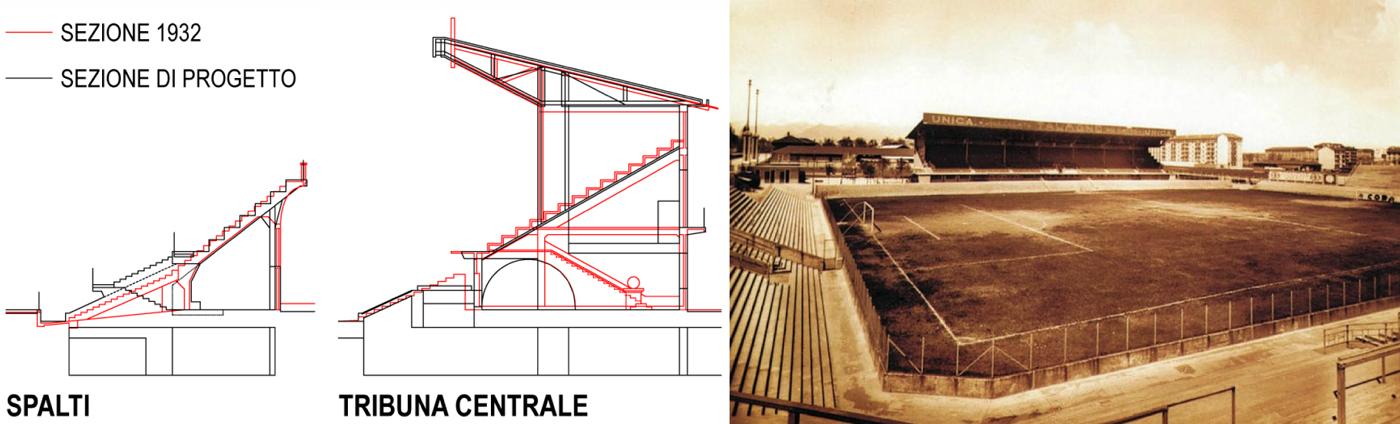 Nuovo Stadio Filadelfia a Torino. Progetto vincitore del concorso di idee. La sezione recupera le tracce dell'antico Campo Torino | Bottega di Architettura