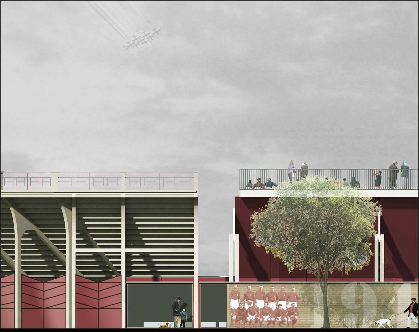 Nuovo Stadio Filadelfia a Torino. Progetto vincitore del concorso di idee. La tribuna storica e i nuovi spalti | Bottega di Architettura