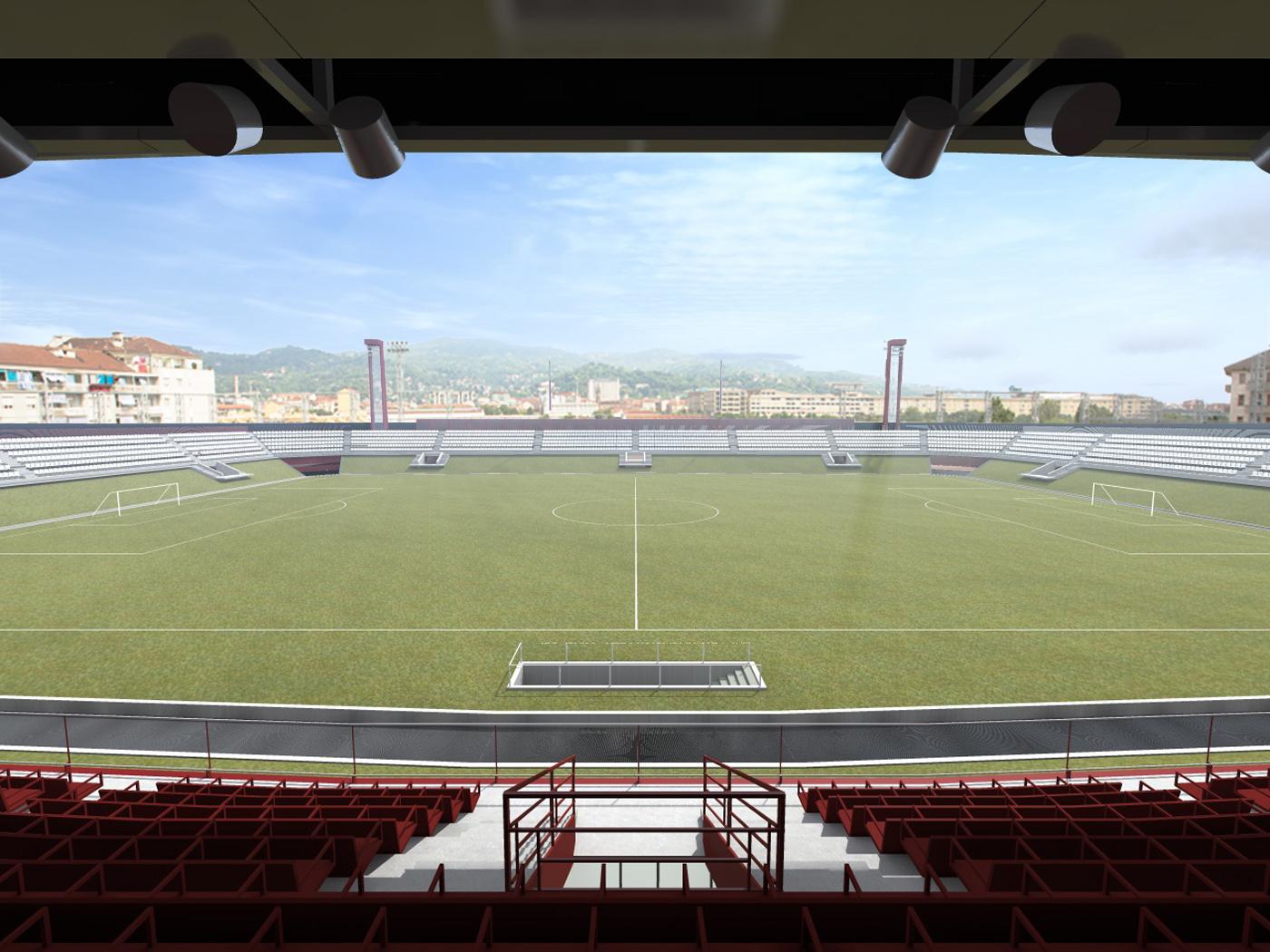 Nuovo Stadio Filadelfia a Torino. Progetto vincitore del concorso di idee. Spalti verso la collina | Bottega di Architettura