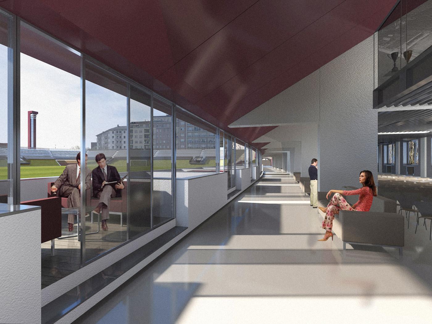Nuovo Stadio Filadelfia a Torino. Progetto vincitore del concorso di idee. Interni | Bottega di Architettura