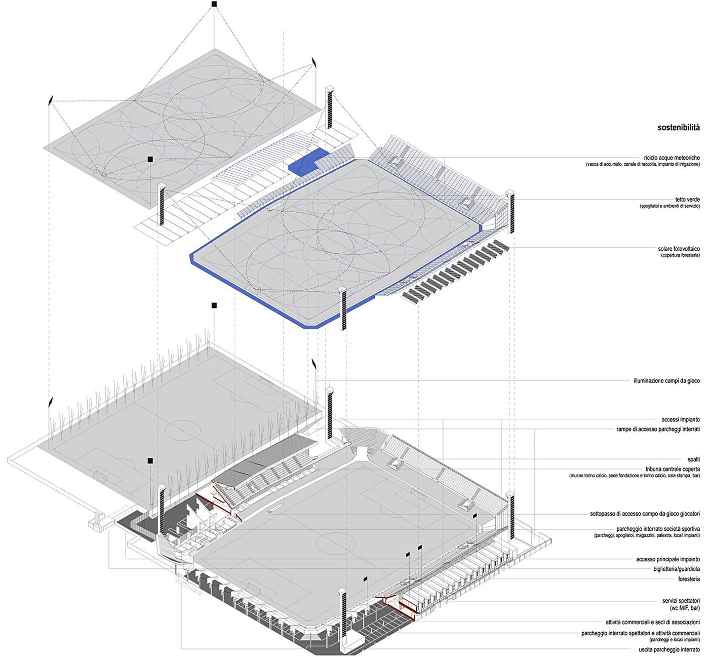 Nuovo Stadio Filadelfia a Torino. Progetto vincitore del concorso di idee. Schemi progettuali | Bottega di Architettura