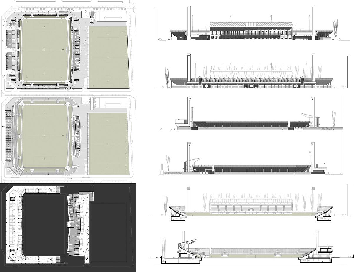 Nuovo Stadio Filadelfia a Torino. Progetto vincitore del concorso di idee. Piante dei livelli di progetto, prospetti e sezioni | Bottega di Architettura