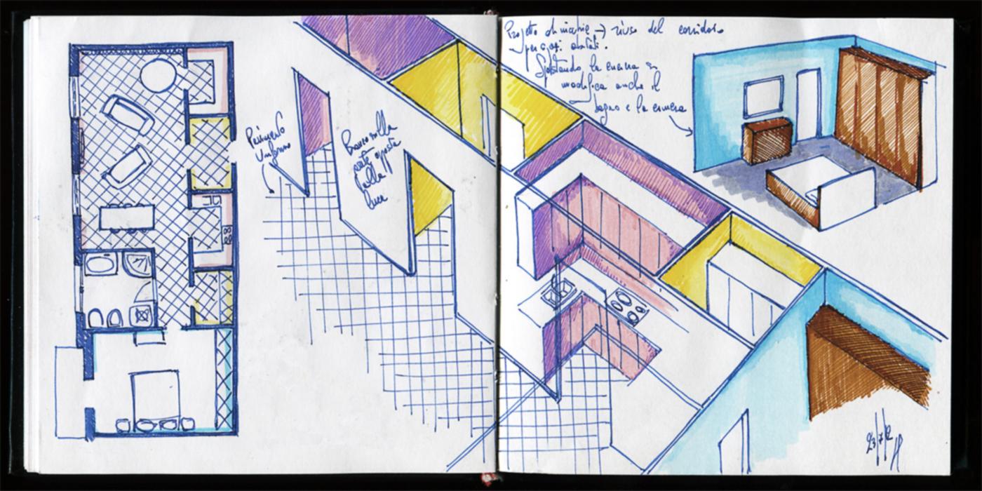 Una ristrutturazione a basso budget che rivoluziona spazi e percezione. Schizzi progettuali | Bottega di Architettura
