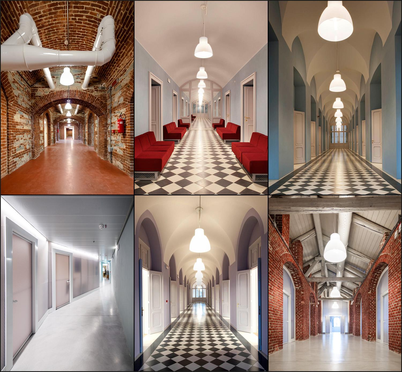 Restauro e trasformazione in uffici di un palazzo ottocentesco. I corridoi di interrato, piano terra, ammezzato, piano secondo, sottotetto | Bottega di Architettura