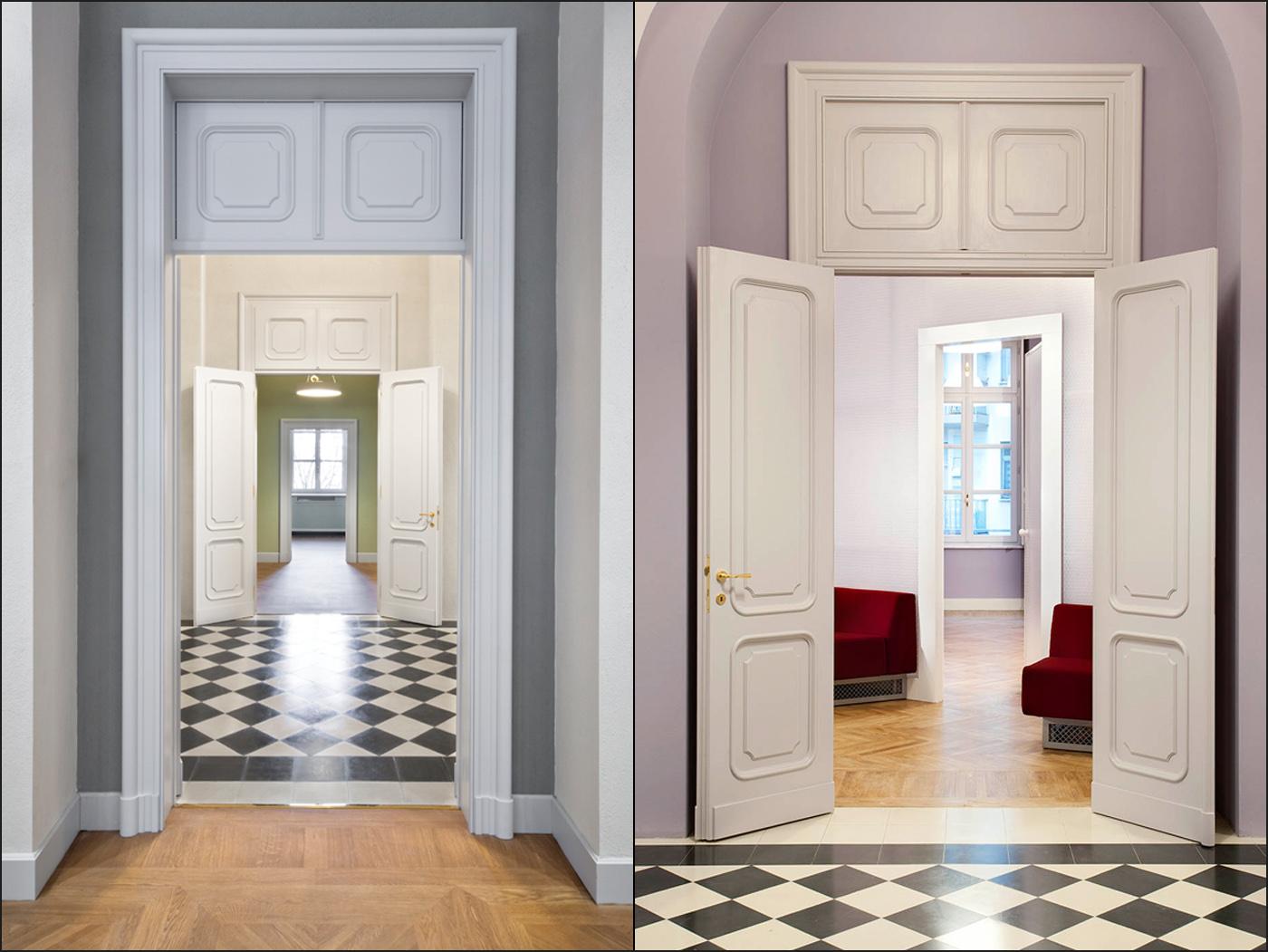 Restauro e trasformazione in uffici di un palazzo ottocentesco. Le soglie tra corridoi e stanze| Bottega di Architettura