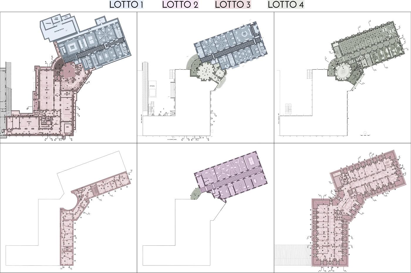 Restauro e trasformazione in uffici di un palazzo ottocentesco. Piante e lotti funzionali | Bottega di Architettura