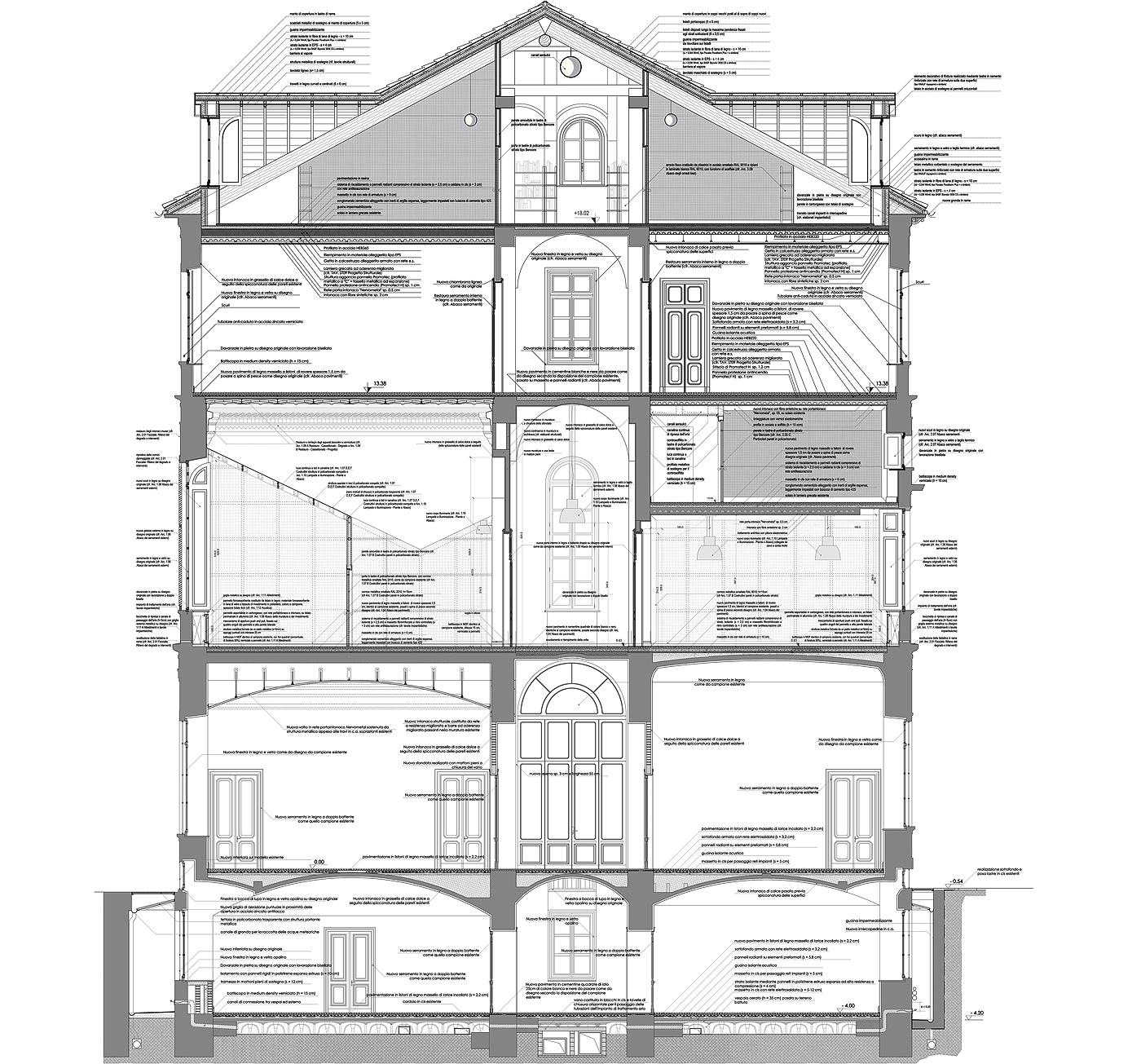 Restauro e trasformazione in uffici di un palazzo ottocentesco. Sezione costruttiva di tutto il palazzo | Bottega di Architettura