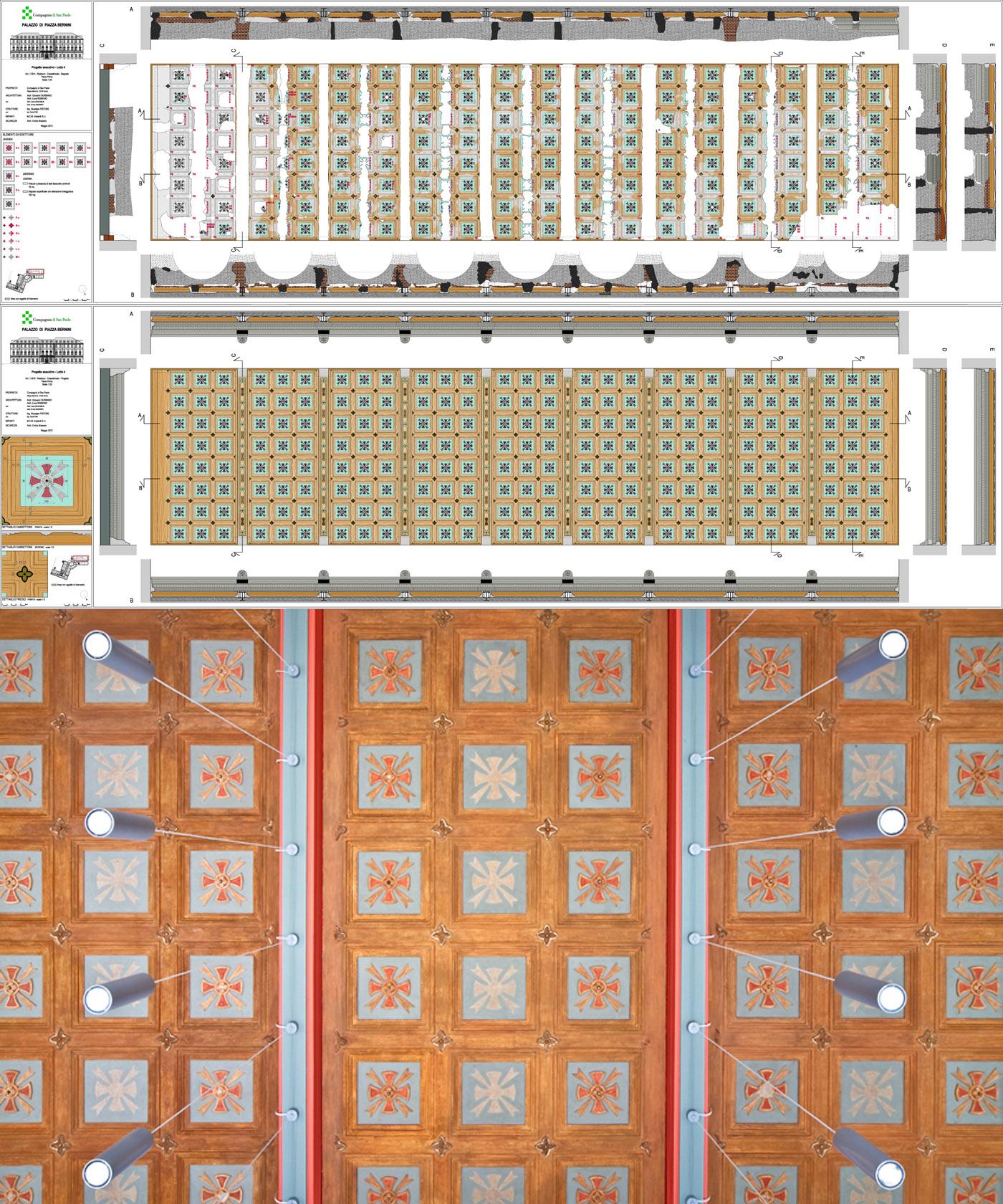 Restauro e trasformazione in uffici di un palazzo ottocentesco. Il restauro del cassettonato | Bottega di Architettura
