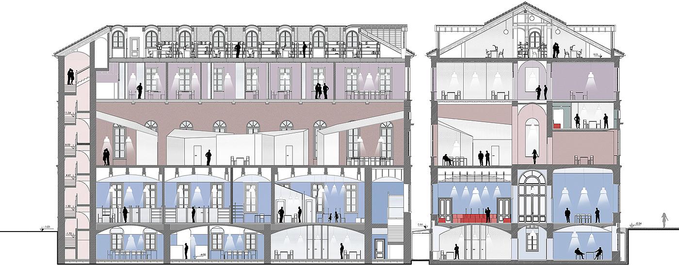 Restauro e trasformazione in uffici di un palazzo ottocentesco. Sezioni organizzative dei vari enti | Bottega di Architettura