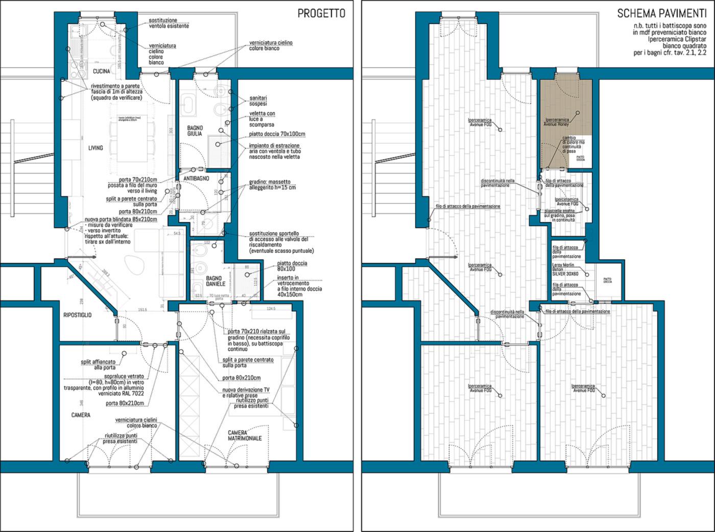 Una ristrutturazione che moltiplica gli spazi in un'appartamento degli anni '70. Disegni di progetto | Bottega di Architettura