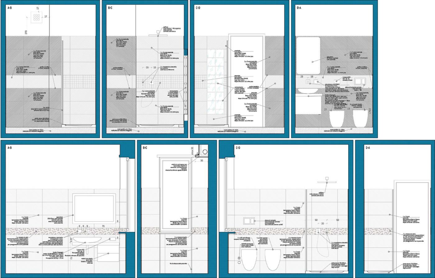 Una ristrutturazione che moltiplica gli spazi in un'appartamento degli anni '70. Disegni di dettaglio | Bottega di Architettura