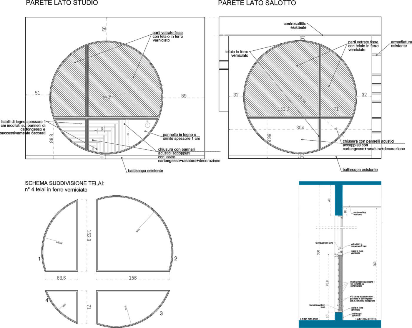 Trasformare una vetrata interna in un piccolo gioiello di interior design. Disegni progettuali | Bottega di Architettura