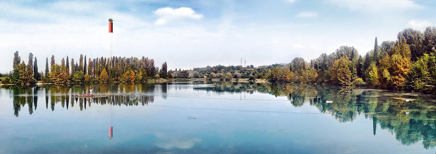 La grande ciminiera della Centrale del Parco del Mincio diventa un incredibile museo verticale in cui natura, archelogia industriale, paesaggio si uniscono in un'esperienza di immenso fascino | vista | Bottega di Architettura