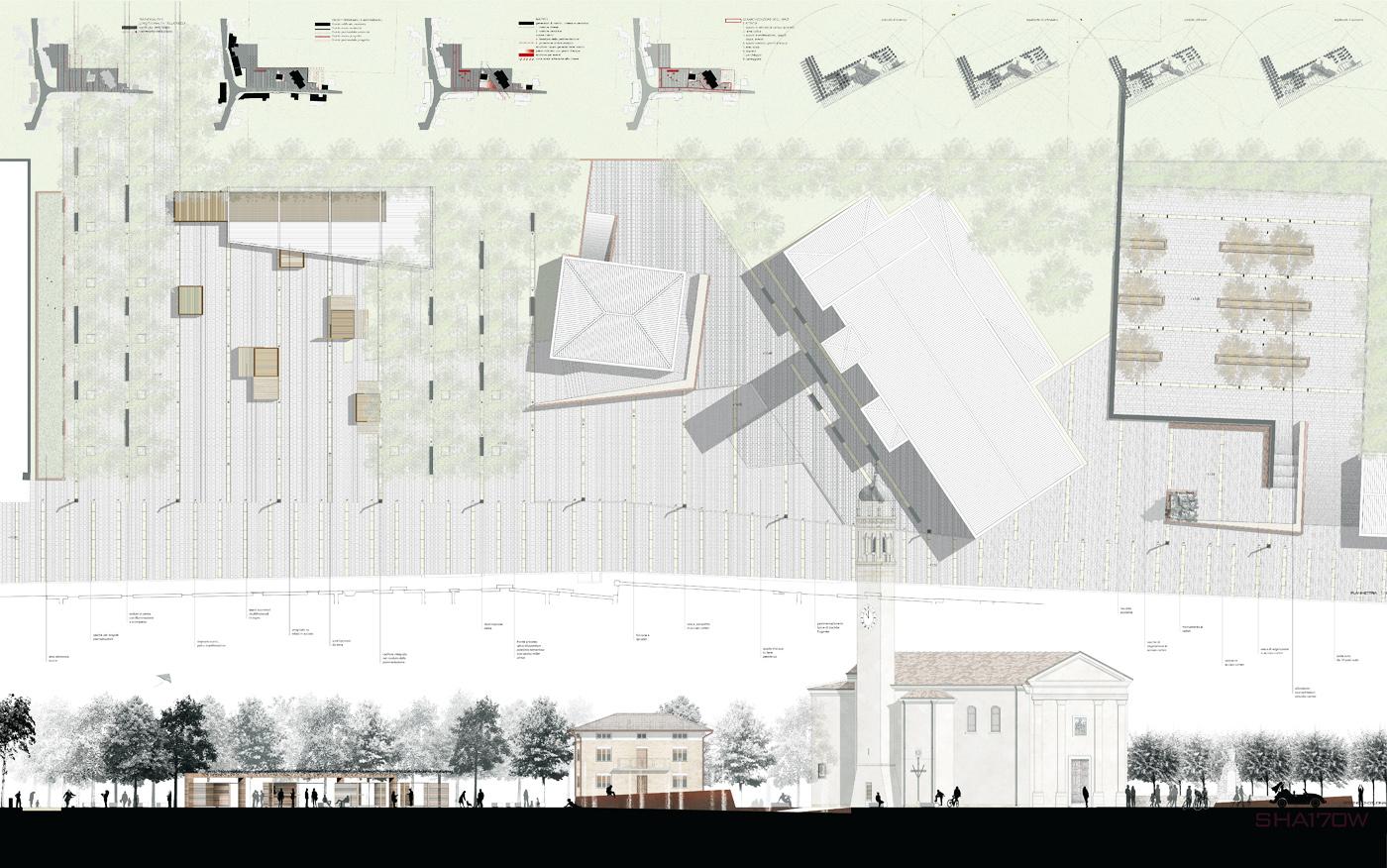 La nuova piazza di Asigliano Veneto, uno spazio pubblico tracciato dall'ombra a ricomporre i lembi sfrangiati del tessuto edilizio. Planimetria di progetto | Bottega di Architettura