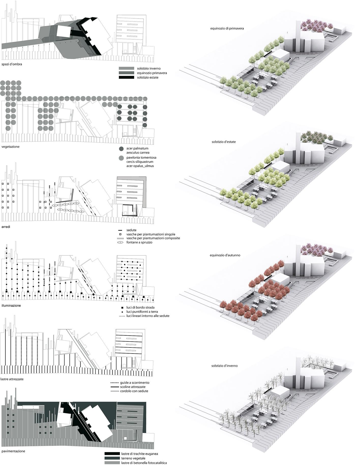 La nuova piazza di Asigliano Veneto, uno spazio pubblico tracciato dall'ombra a ricomporre i lembi sfrangiati del tessuto edilizio. Layer dei materiali e cambi stagionali nelle vegetazioni | Bottega di Architettura