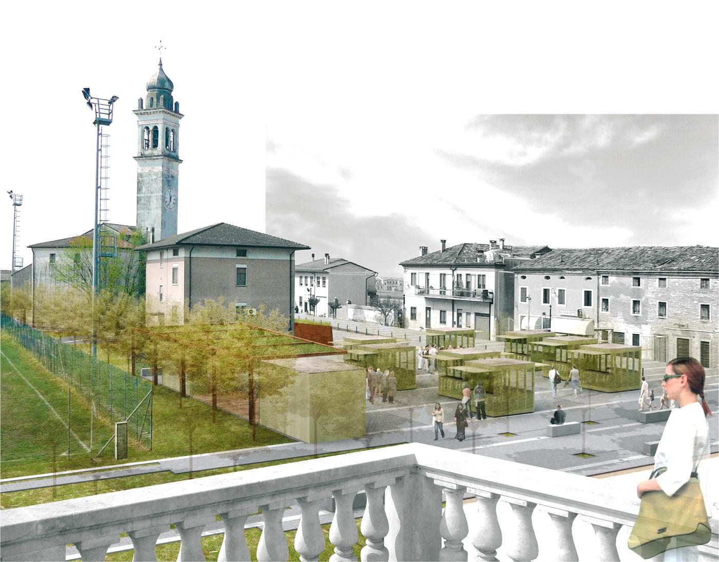 La nuova piazza di Asigliano Veneto, uno spazio pubblico tracciato dall'ombra a ricomporre i lembi sfrangiati del tessuto edilizio. Vista della zona sagra | Bottega di Architettura