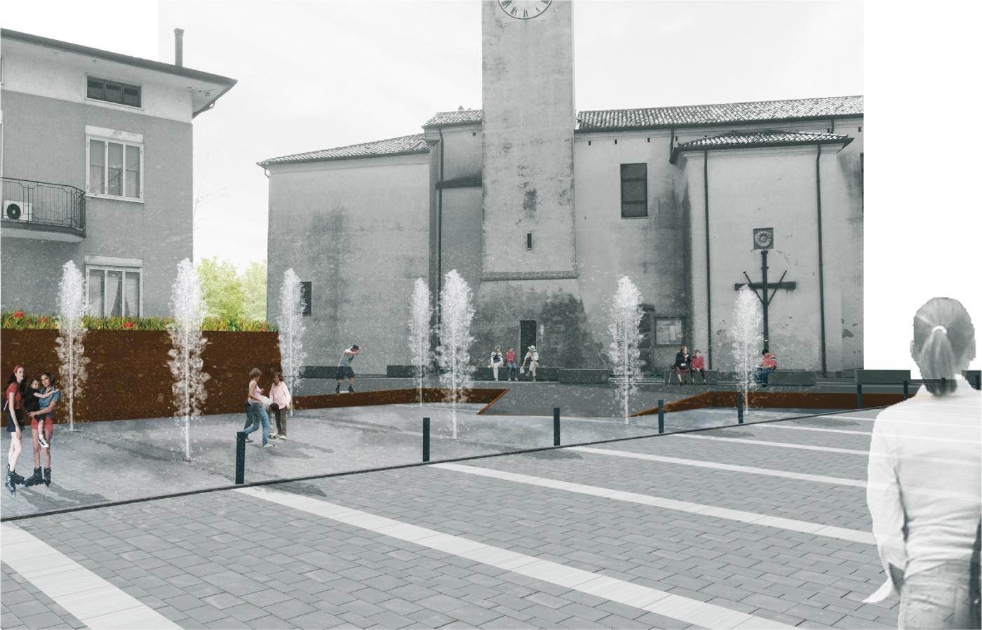 La nuova piazza di Asigliano Veneto, uno spazio pubblico tracciato dall'ombra a ricomporre i lembi sfrangiati del tessuto edilizio. Giochi d'acqua | Bottega di Architettura