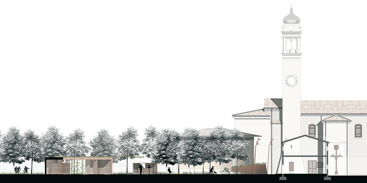 La nuova piazza di Asigliano Veneto, uno spazio pubblico tracciato dall'ombra a ricomporre i lembi sfrangiati del tessuto edilizio. Profilo longitudinale | Bottega di Architettura