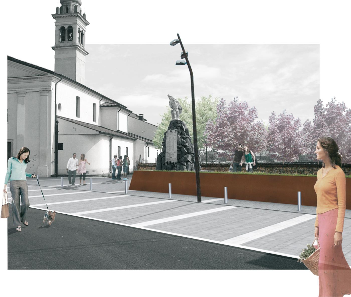 La nuova piazza di Asigliano Veneto, uno spazio pubblico tracciato dall'ombra a ricomporre i lembi sfrangiati del tessuto edilizio. La vista verso la chiesa | Bottega di Architettura