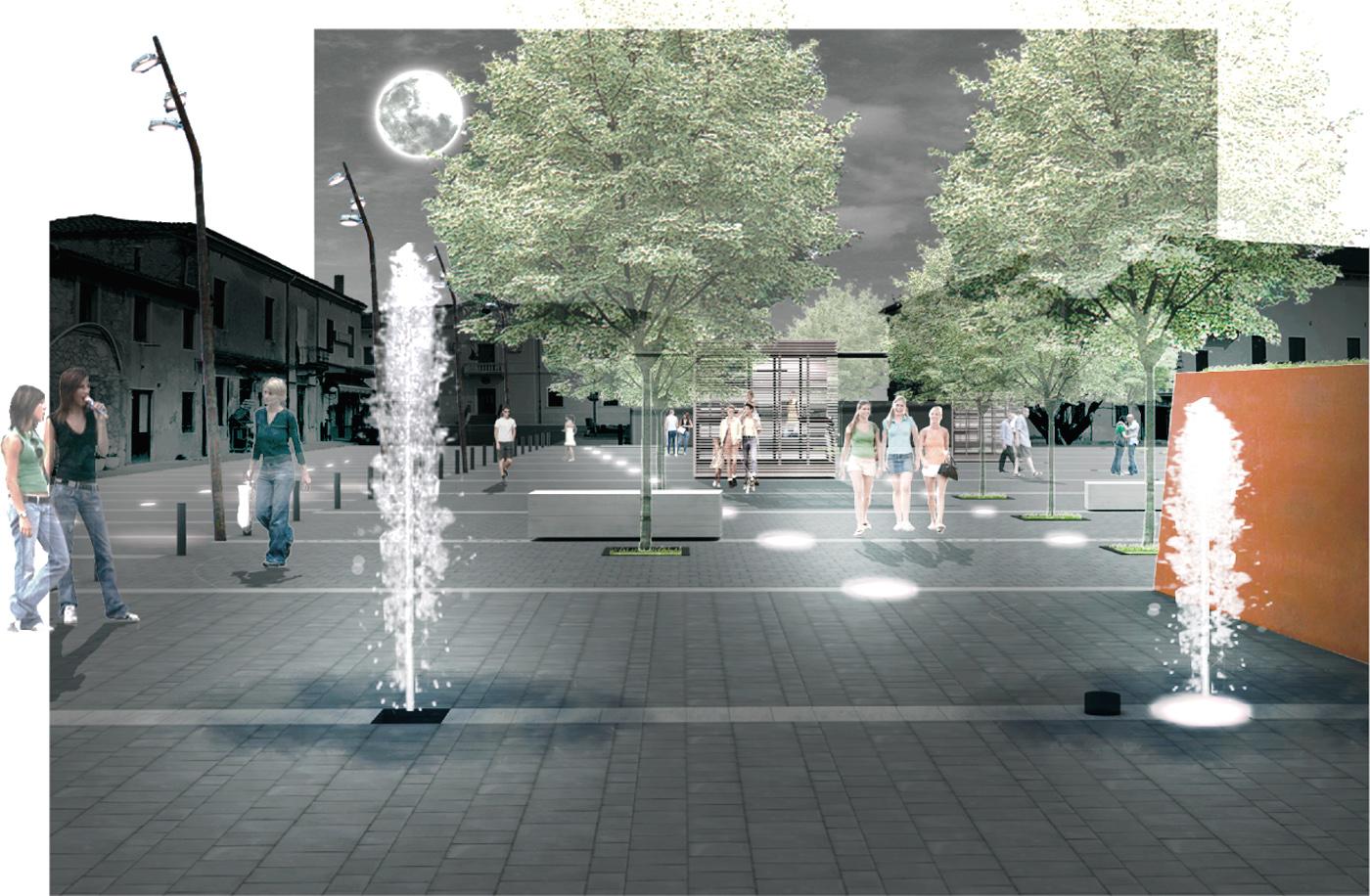 La nuova piazza di Asigliano Veneto, uno spazio pubblico tracciato dall'ombra a ricomporre i lembi sfrangiati del tessuto edilizio. Di notte | Bottega di Architettura