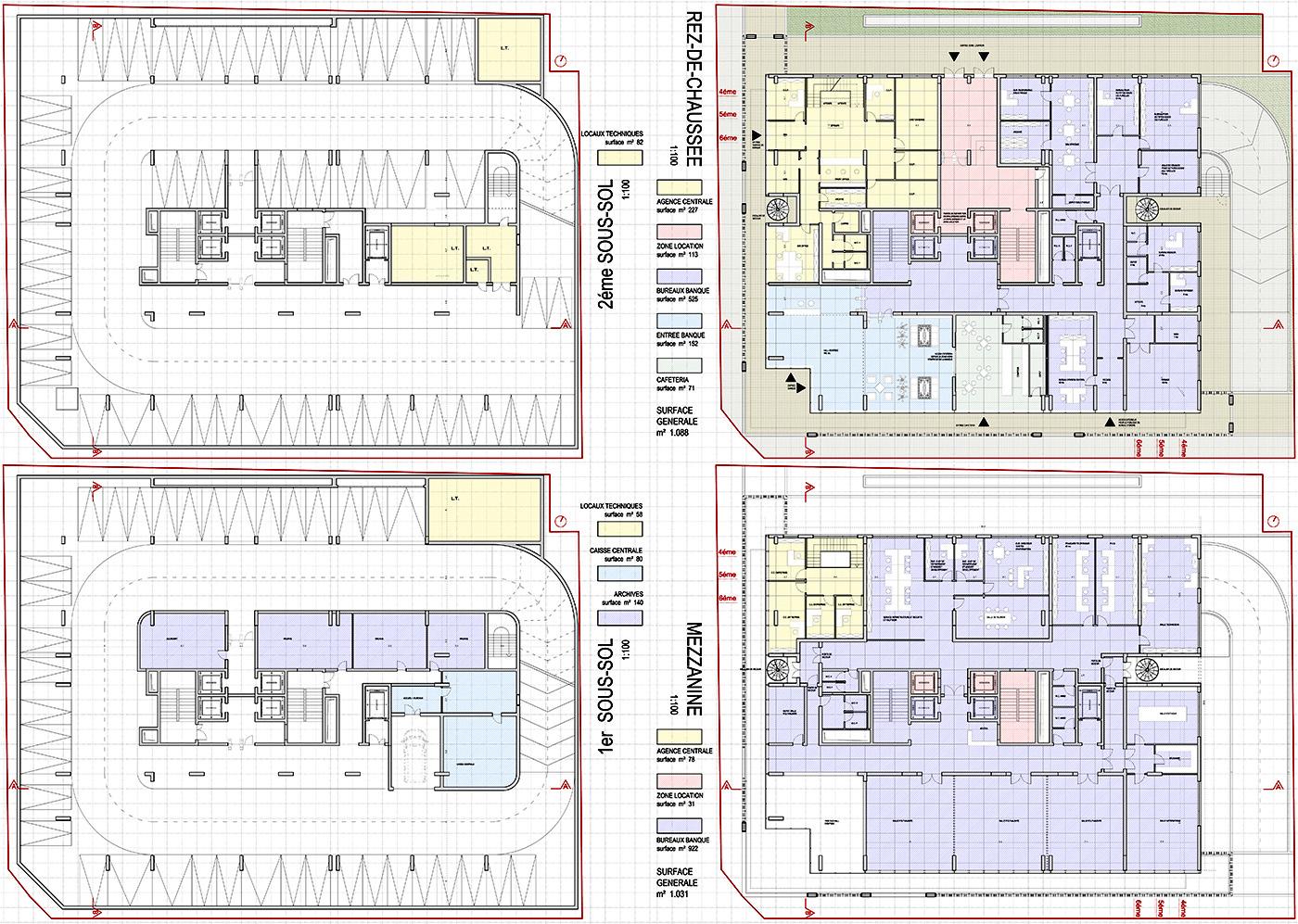 Il nuovo centro direzionale per la Banque Tuniso-Libyenne a Tunisi. Piante | Bottega di Architettura