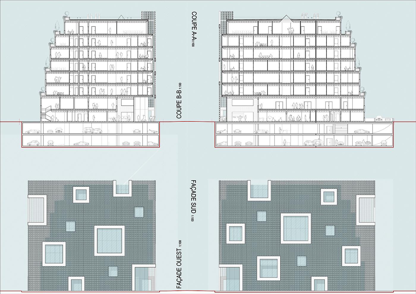 Il nuovo centro direzionale per la Banque Tuniso-Libyenne a Tunisi. Sezioni e Prospetti | Bottega di Architettura