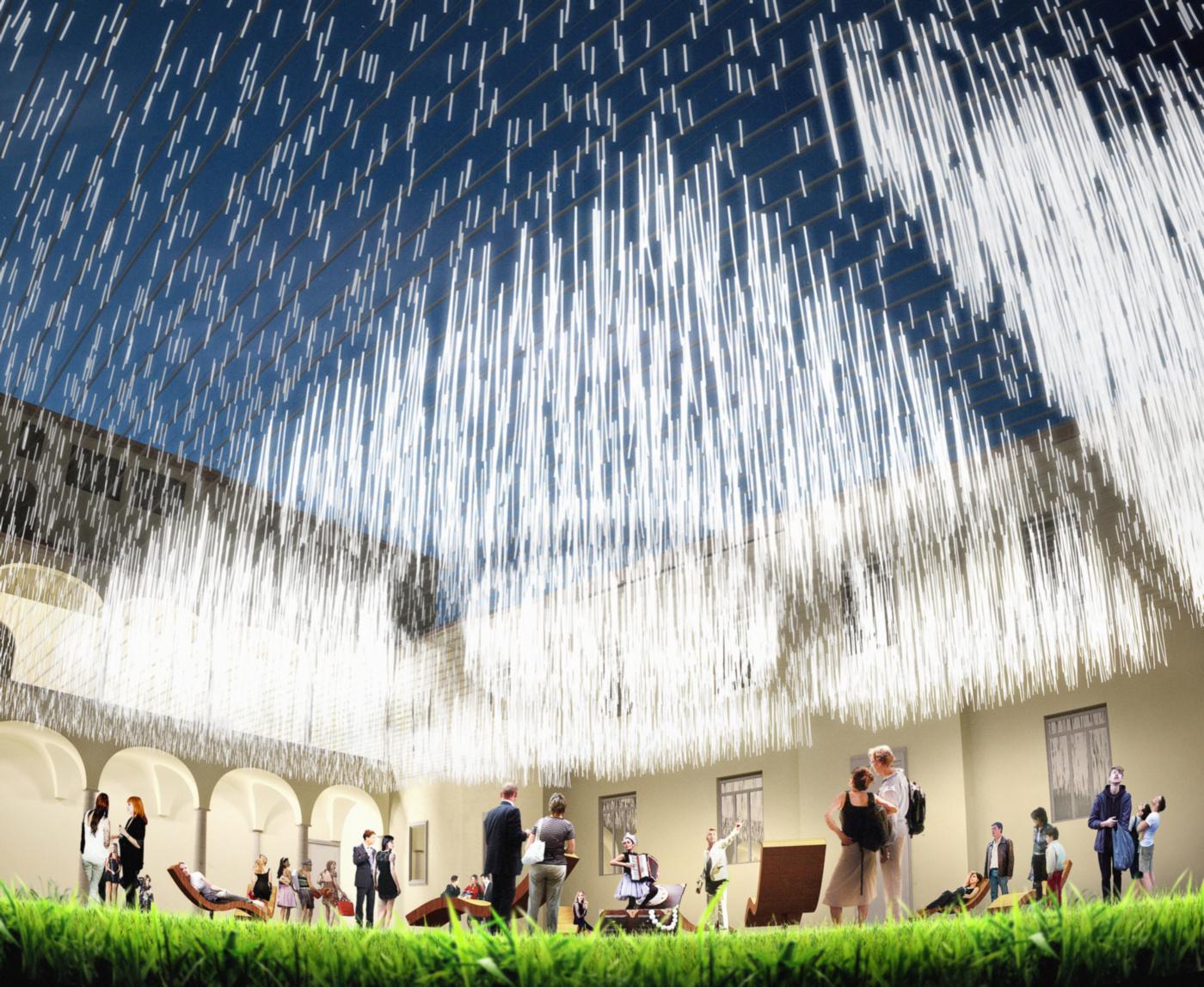 Una grande installazione sensoriale per il nuovo giardino di Palazzo Fabroni a Pistoia. Vista notturna | Bottega di Architettura