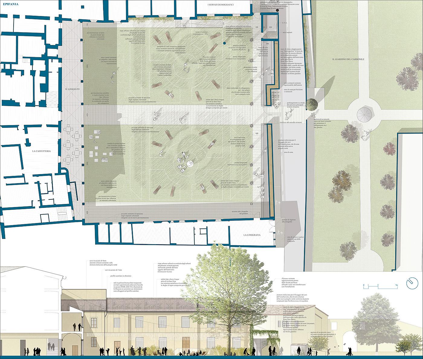 Una grande installazione sensoriale per il nuovo giardino di Palazzo Fabroni a Pistoia. Pianta e sezione | Bottega di Architettura