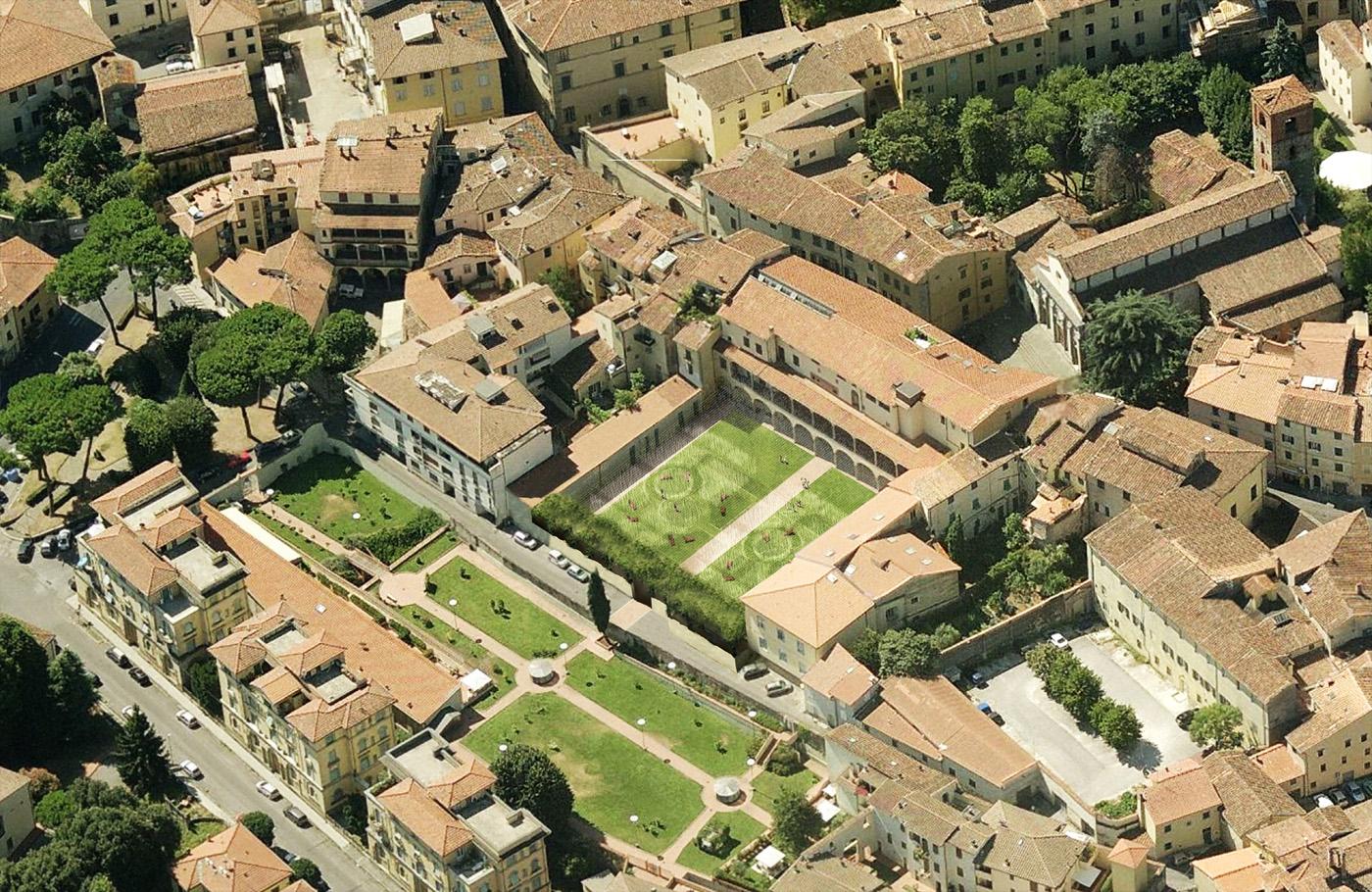 Una grande installazione sensoriale per il nuovo giardino di Palazzo Fabroni a Pistoia. Vista diurna | Bottega di Architettura