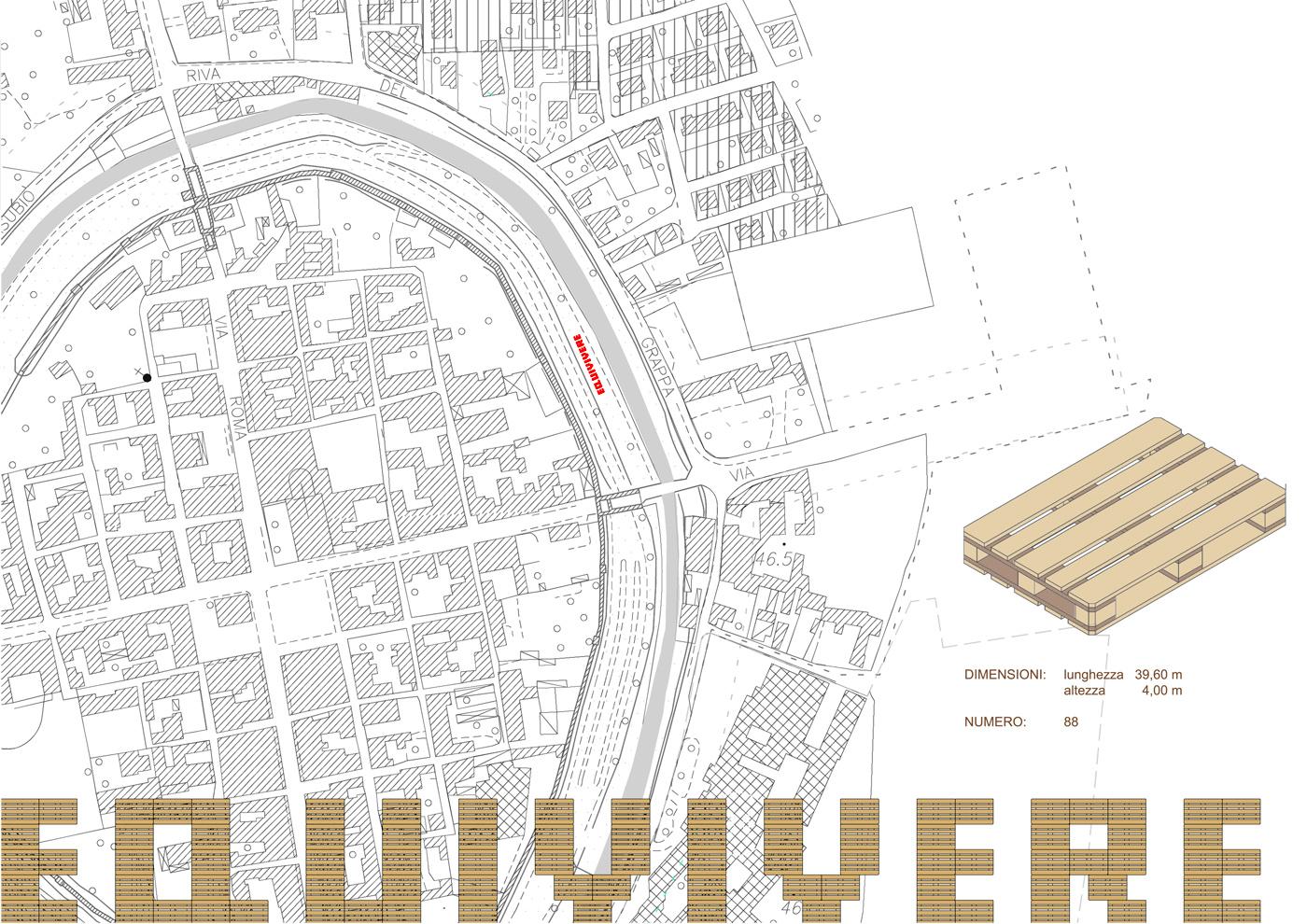 Installazioni urbane per una rassegna sulla sostenibilità. La super-scritta, progetto | Bottega di Architettura