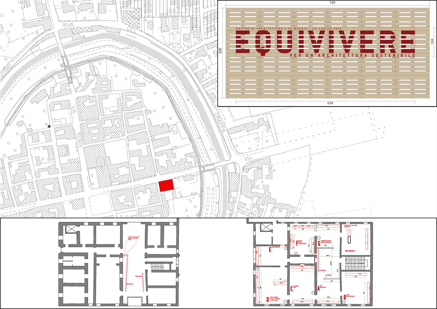 Installazioni urbane per una rassegna sulla sostenibilità. Le quinte all'ingresso della mostra. Progetto | Bottega di Architettura