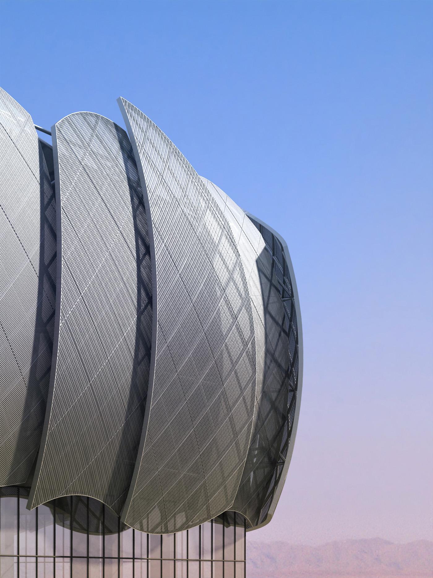 Il nuovo centro sportivo della Sohar University, in Oman, con le sue iconiche vele   project management   by Bottega di Architettura
