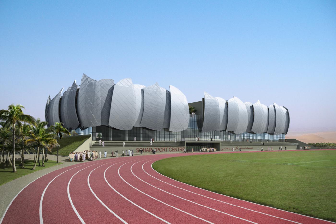 Il nuovo centro sportivo della Sohar University, in Oman, con le sue iconiche vele   project management   vista diurna   Bottega di Architettura