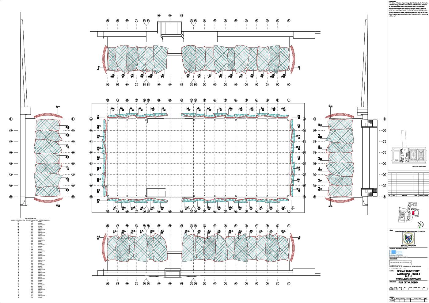 Il nuovo centro sportivo della Sohar University, in Oman, con le sue iconiche vele | project management | planimetria e organizzazione delle vele by Bottega di Architettura
