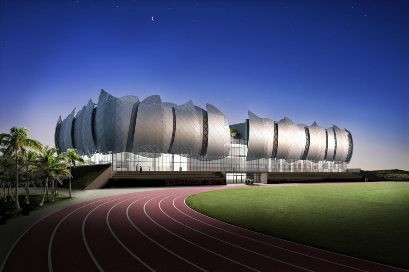 Il nuovo centro sportivo della Sohar University, in Oman, con le sue iconiche vele   project management   vista notturna   Bottega di Architettura