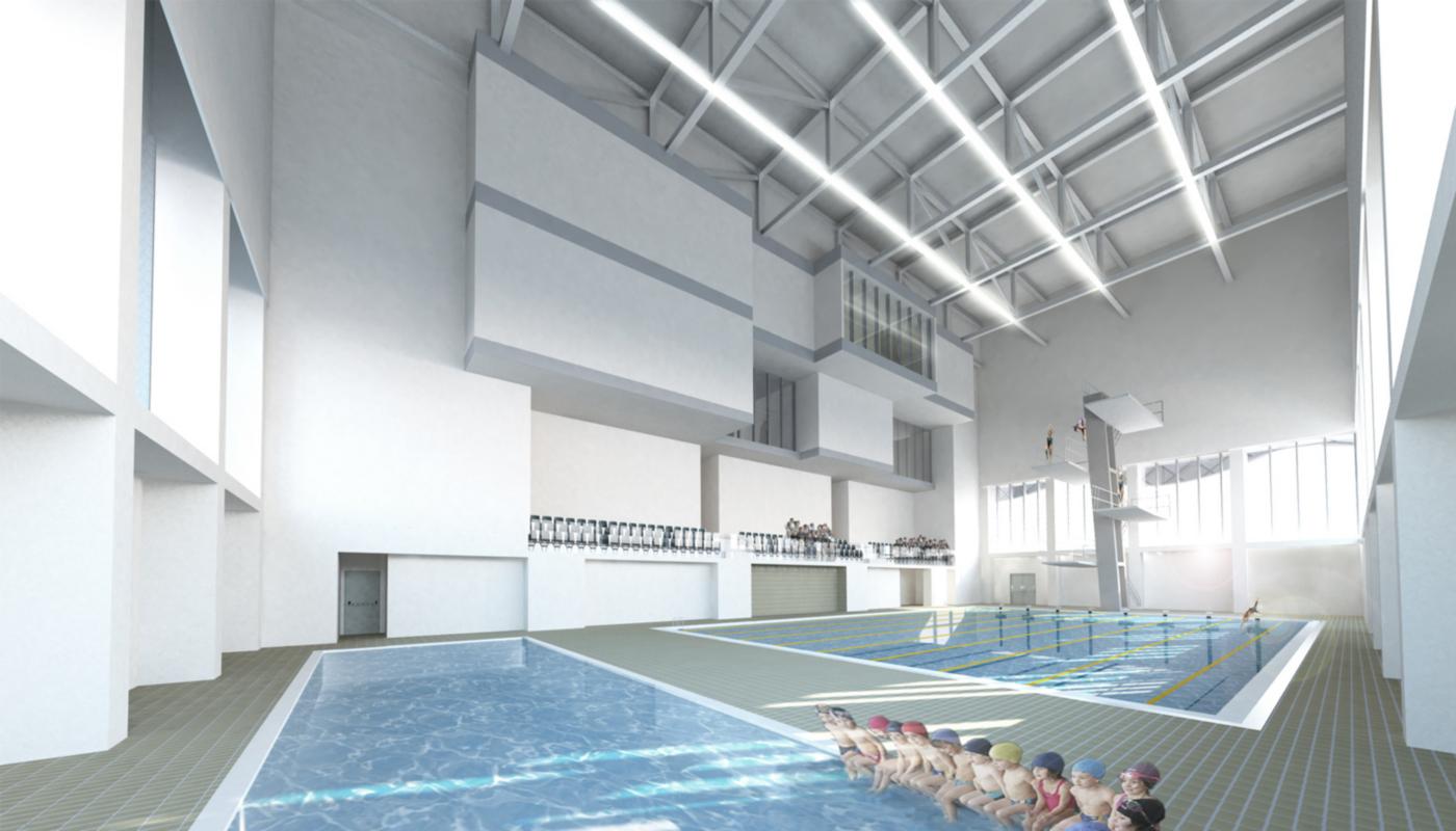 Il nuovo centro sportivo della Sohar University, in Oman, con le sue iconiche vele   project management   render interno by MEG   Bottega di Architettura