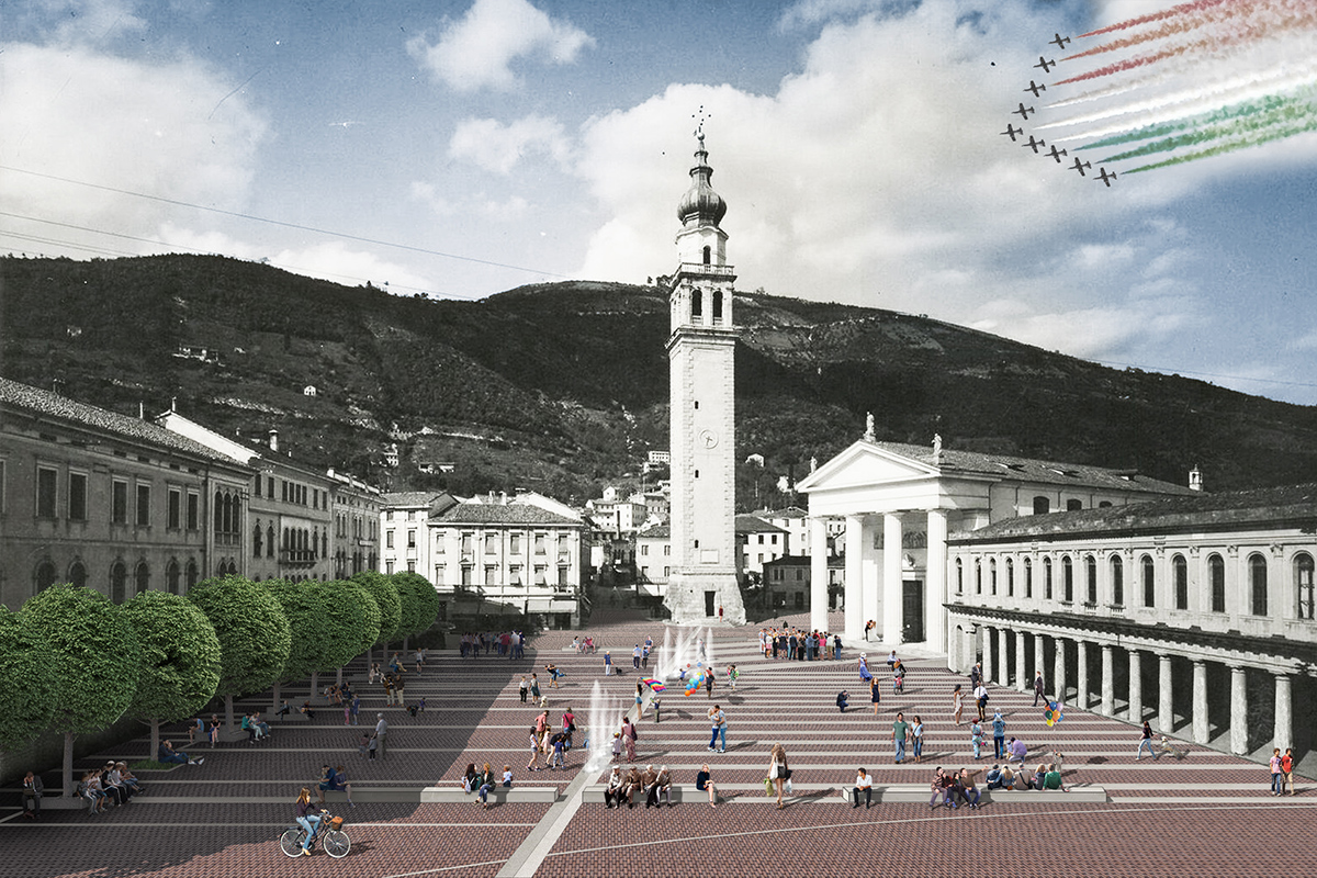 La riqualificazione della magnifica piazza monumentale di Valdobbiadene trasforma le impronte storiche degli edifici in uno spartito di segni che restituisce l'uso pedonale alla città | futuro | Bottega di Architettura