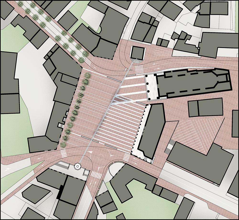 La riqualificazione della magnifica piazza monumentale di Valdobbiadene trasforma le impronte storiche degli edifici in uno spartito di segni che restituisce l'uso pedonale alla città | planimetria | Bottega di Architettura