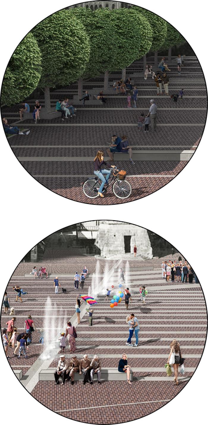 La riqualificazione della magnifica piazza monumentale di Valdobbiadene trasforma le impronte storiche degli edifici in uno spartito di segni che restituisce l'uso pedonale alla città | dettagli dell'intervento | Bottega di Architettura