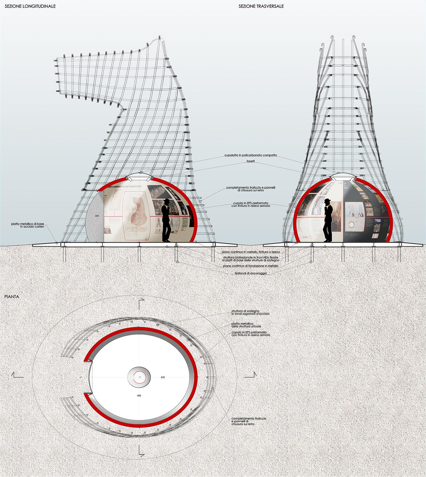 LA LUNA E IL COLOSSO | un'opera visionaria che rinnova il cavallo di Leonardo di Vinci | progetto della bolla come hub espositivo | Bottega di Architettura